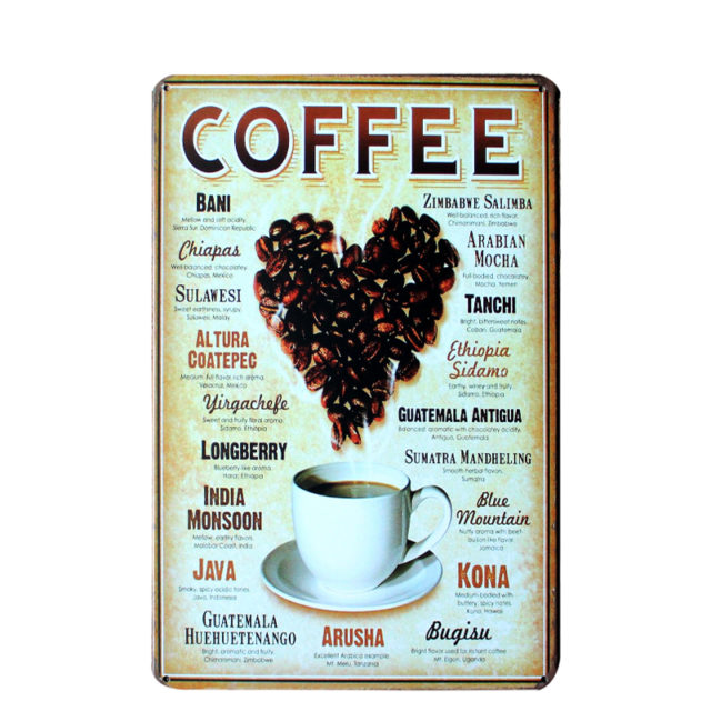Vintage Decorative Coffee Themed Metal Wall Poster
