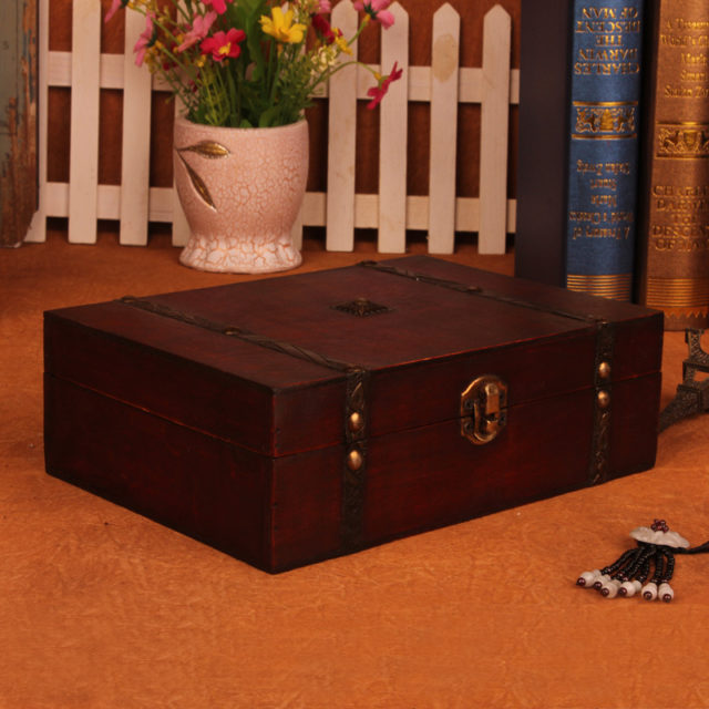 Vintage Treasure Storage Box With Metal Lock