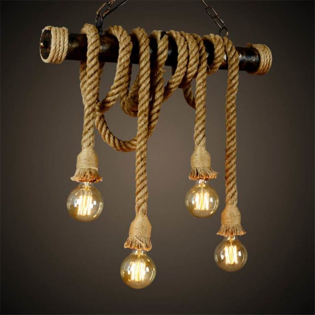 Lampe Vintage / Suspension corde